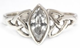 Ring Rigani Celtic Trinity Weißer Kristall Silber